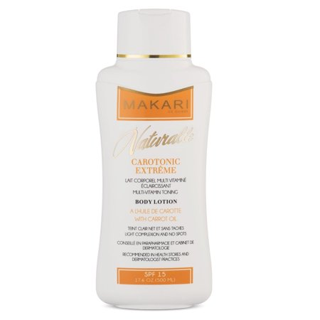 Makari Naturalle Carotonic Extreme Body Lotion 17.6oz – Lightening, Toning & Moisturizing Body Cream With Carrot Oil & SPF 15 – Anti-Aging & Whitening Treatment for Dark Spots, Acne Scars