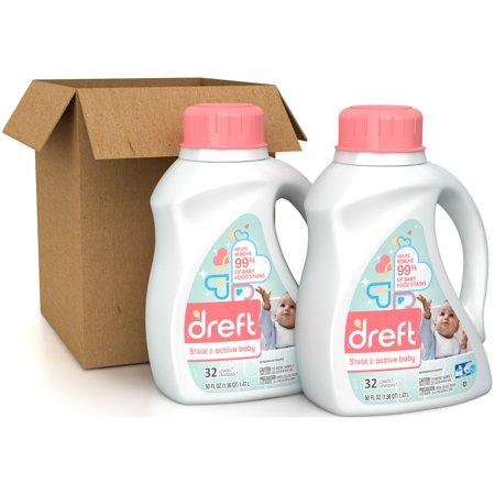 Dreft Stage 2 Active Baby Liquid Laundry Detergent, 50 Ounces, 2 Pack