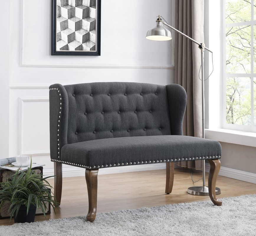 US Pride Furniture Hendrix Tufted Chesterfield Loveseat, Dark Gray