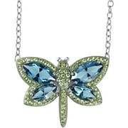 Swarovski Element Sterling Silver Butterfly Necklace, 17