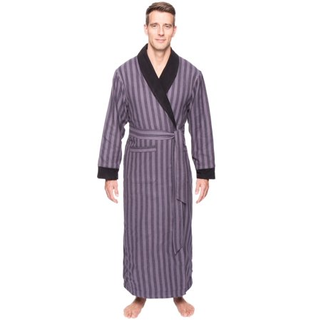 bc1f39f60d Noble Mount - Noble Mount Mens Premium 100% Cotton Flannel Fleece Lined Robe  - Walmart.com