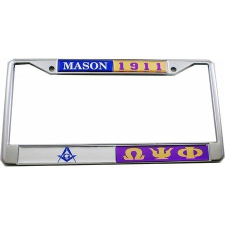 Mason + Omega Psi Phi Split License Plate Frame [Silver/Purple - Car/Truck]