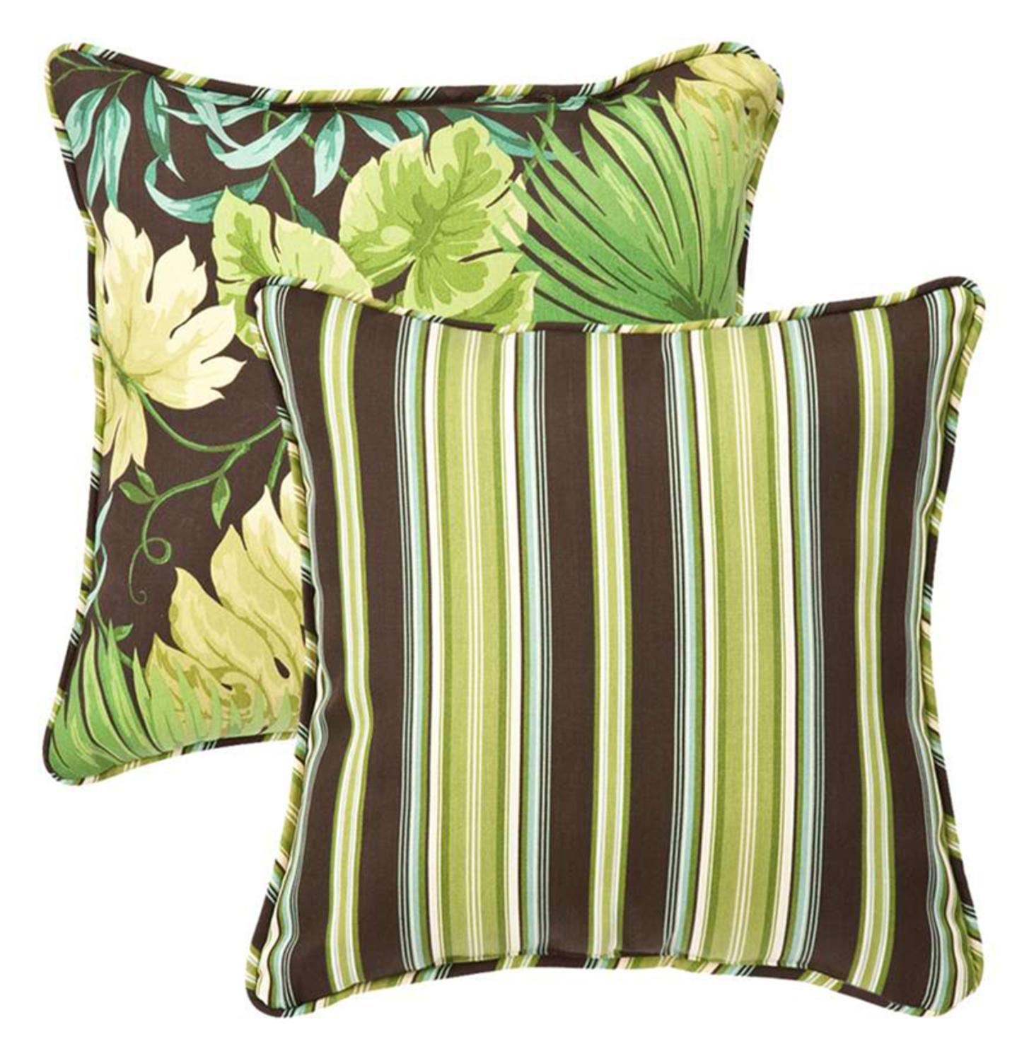 """Pack of 2 Outdoor SquareThrow Pillows 18.5"""" -  Reversible Tropical Green Stripe"""