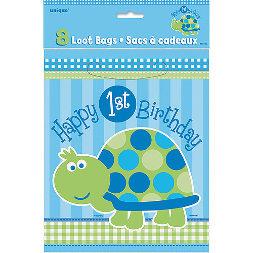 First Birthday Turtle Favor Bags, 8pk