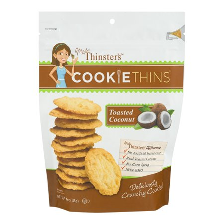 (3 Pack) Mrs. Thinster's Toasted Coconut Cookie Thins, 4 oz 4 Ounce Sugar Cookie