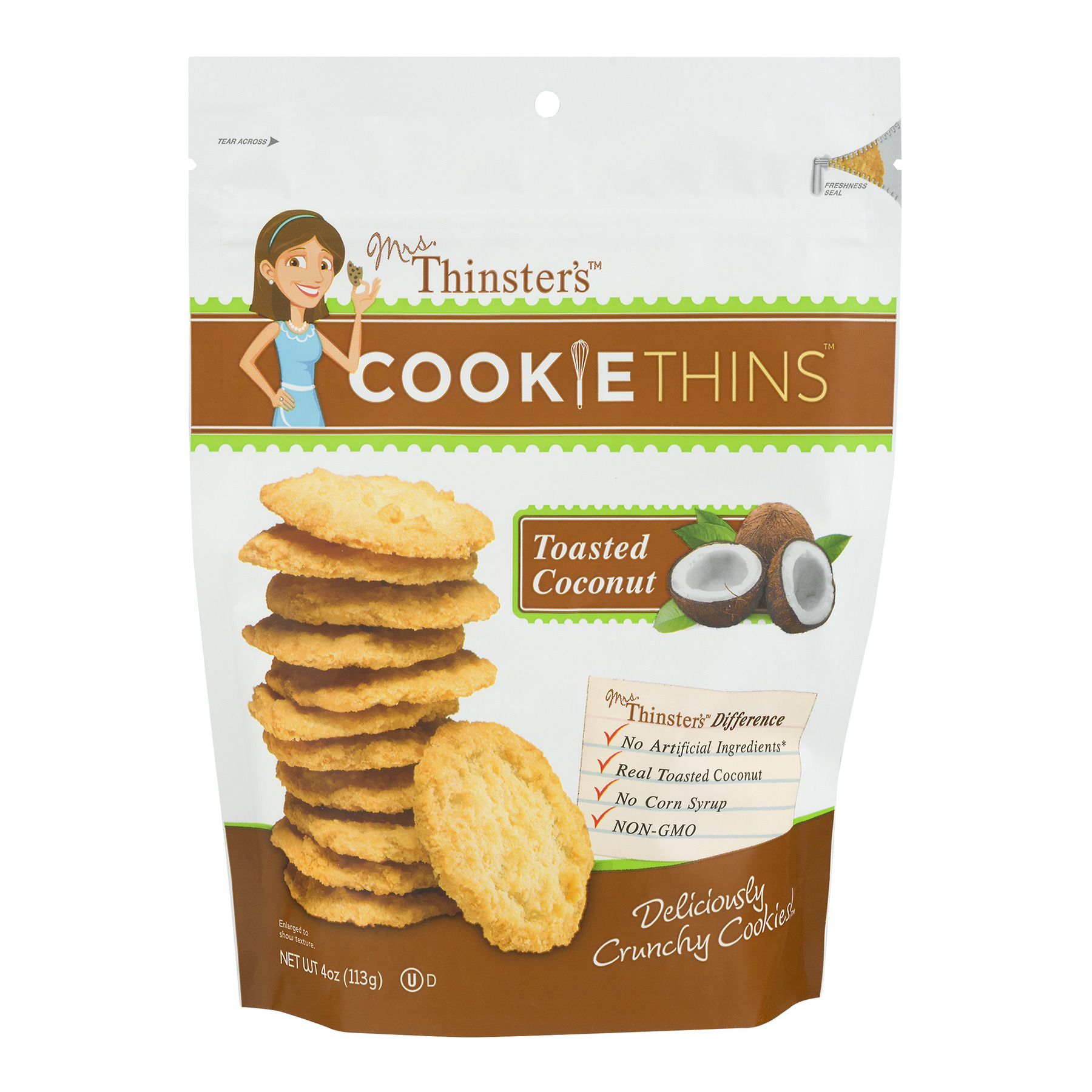 (2 Pack) Mrs. Thinster's Toasted Coconut Cookie Thins, 4 oz