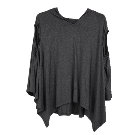 Luna Charcoal (Luna West Womens Charcoal Solid Color Hoodie Poncho Sleeveless Top)