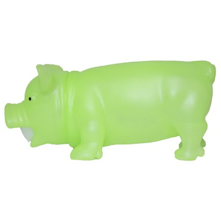 8 Inch Soft Plastic Squeezable Glow In The Dark Squealing Pig