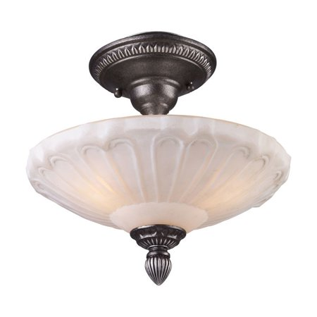 Charleston Semi Flush (Elk Lighting Restoration Flushes 3 Light Semi Flush Mount in Silver )