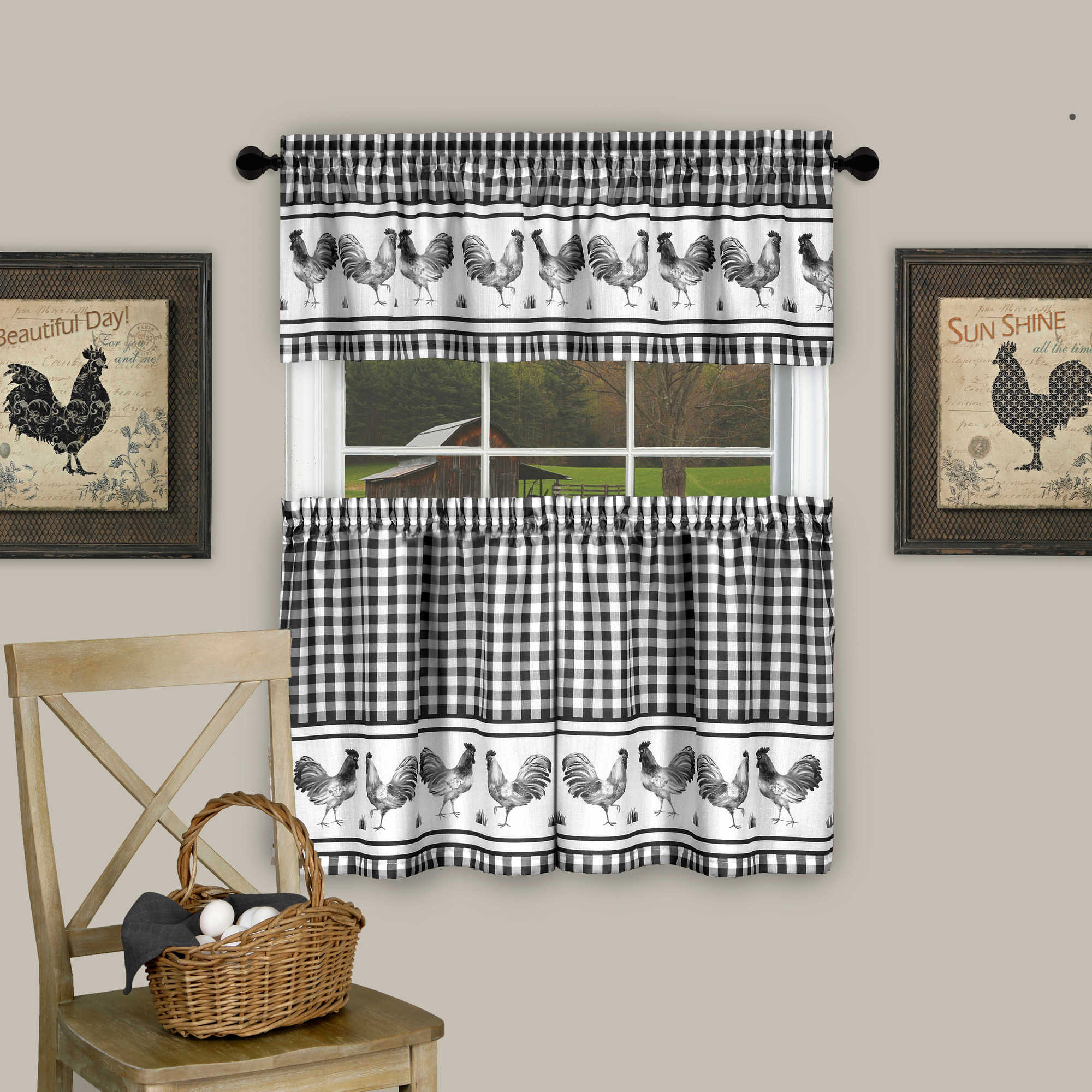 """Barnyard Rooster 36"""" Tier and 14"""" Valance Kitchen Window Curtain Set"""