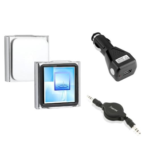 Insten Crystal Clip-on Case+Black Car Charger+Audio Cable For Apple iPod Nano 6 6G 6th Gen (3-in-1 Accessory Bundle)