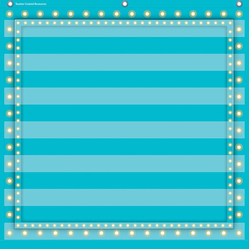 LIGHT BLUE MARQUEE 7 POCKET 28X28 POCKET CHART