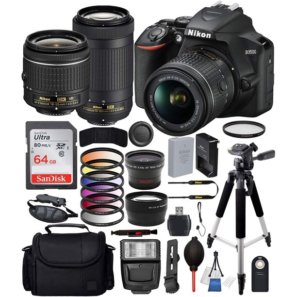 "Nikon D3500 DSLR Camera w/ AF-P DX 18-55mm & 70-300mm Lens Bundle with 64GB SD, Flash, Gadget Bag, 57"" Tripod, Telephoto and Wide Angle Lenses, 6pc Filter Kit and Much More"