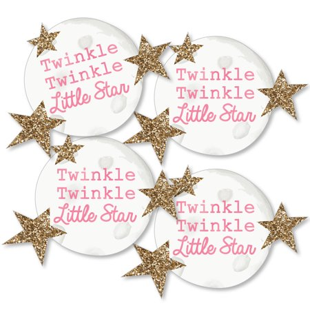 Baby Shower Moon And Stars Theme (Pink Twinkle Little Star - Moon and Star Decorations DIY Baby Shower or Birthday Party Essentials - Set of)