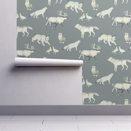 Removable Water-Activated Wallpaper Caribou Caribou White Wolf Arctic Fox Snowy](Halloween Wolf Wallpaper)