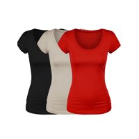Essential Basic Scoop Neck Short Sleeve Tee Women Basic Tshirt - Value Pk Deal, Junior to Plus Sizes