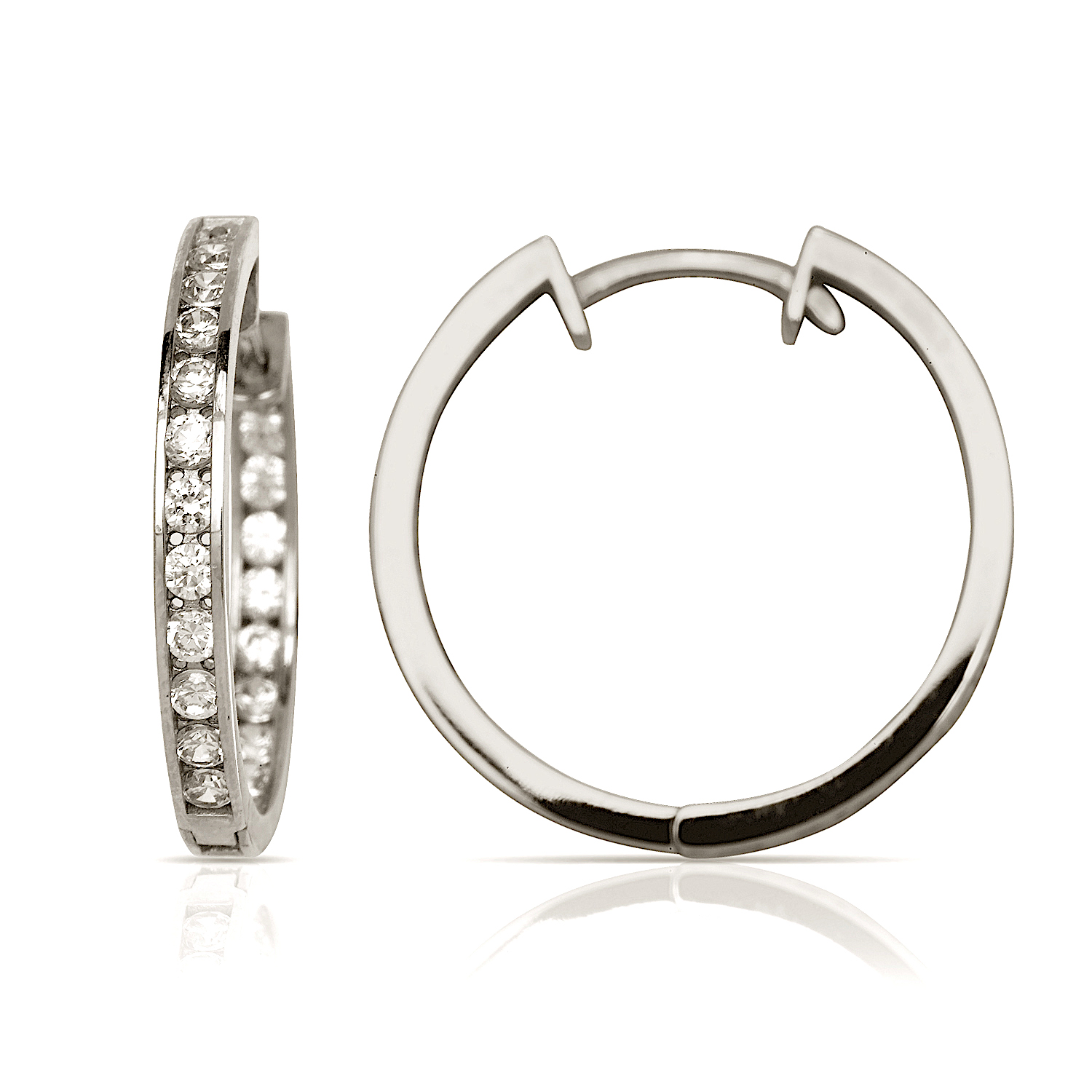 14k White Gold Cubic Zirconia Hoop Hinged Earrings - Measures 20x21mm