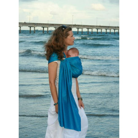 Beachfront Baby Sling - Original Water & Warm Weather Adjustable Ring Sling Carrier | Made in USA | Safety Tested Fabric & Aluminum Rings | Lightweight, Quick Dry & Breathable (One Size, Carib Blue)