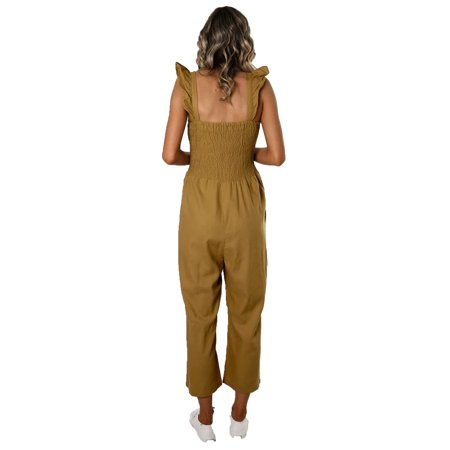 Womens Long Jumpsuit Sleeveless Strappy Romper Playsuit with Pockets Wide Leg Pants Outfits - image 5 of 7