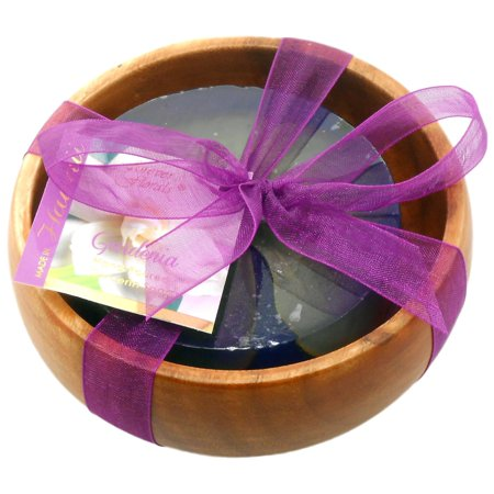 - Forever Florals Gardenia Scented Glycerin Soap In Acacia Wood Bowl