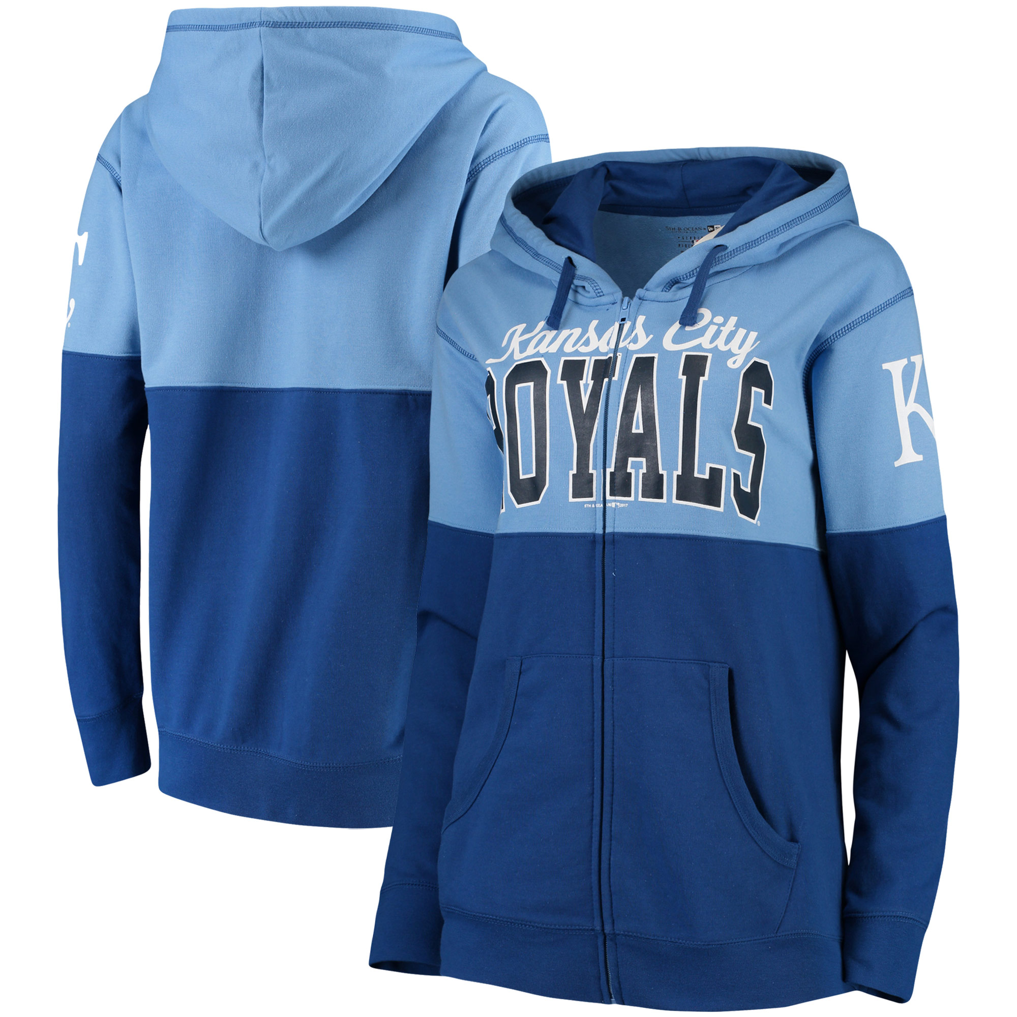 Kansas City Royals 5th & Ocean by New Era Women's Full-Zip Hoodie - Royal/Light Blue