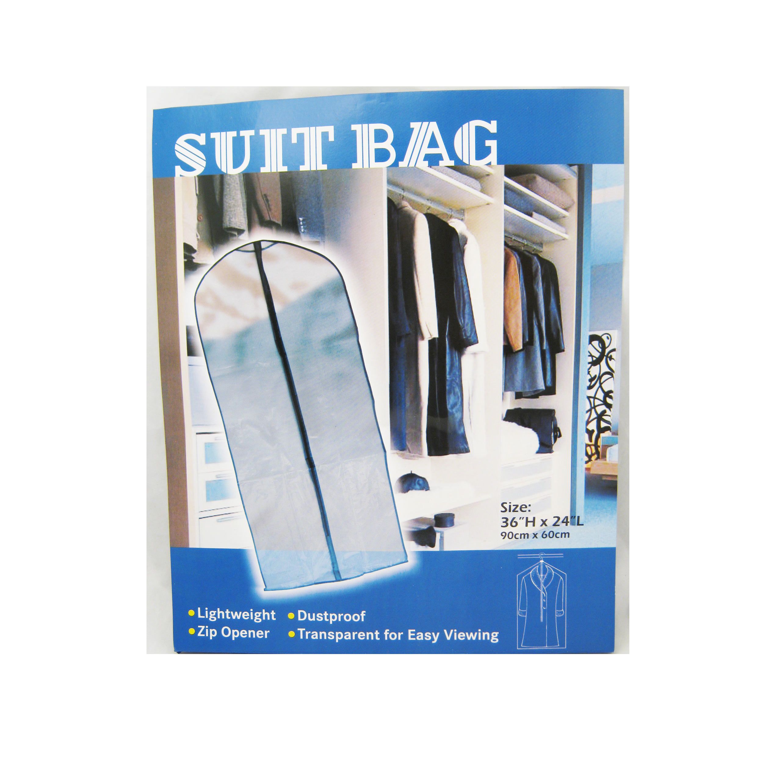 1 Suit Bags Garment Storage Cover Dress Clothes Travel Luggage Protector 24x36