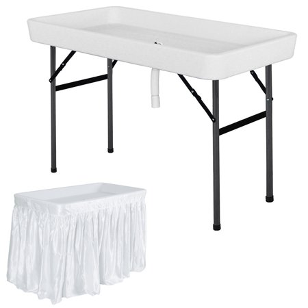 Costway 4 Foot Party Ice Folding Table Plastic with Matching Skirt White ()