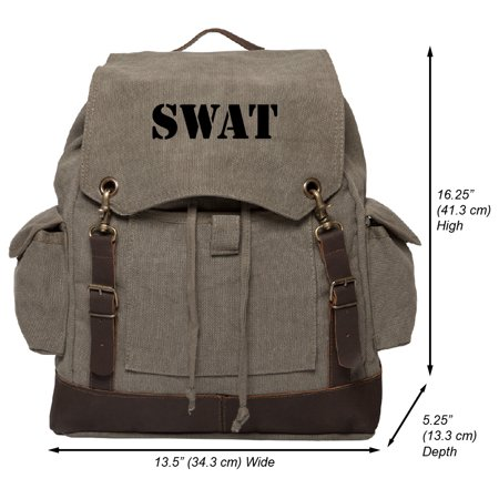 Swat Gear Bags - SWAT Team Text Vintage Canvas Rucksack Backpack with Leather Straps