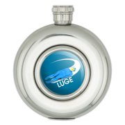 Luge Luger Luging Winter Sport Round Stainless Steel 5oz Hip Drink Flask