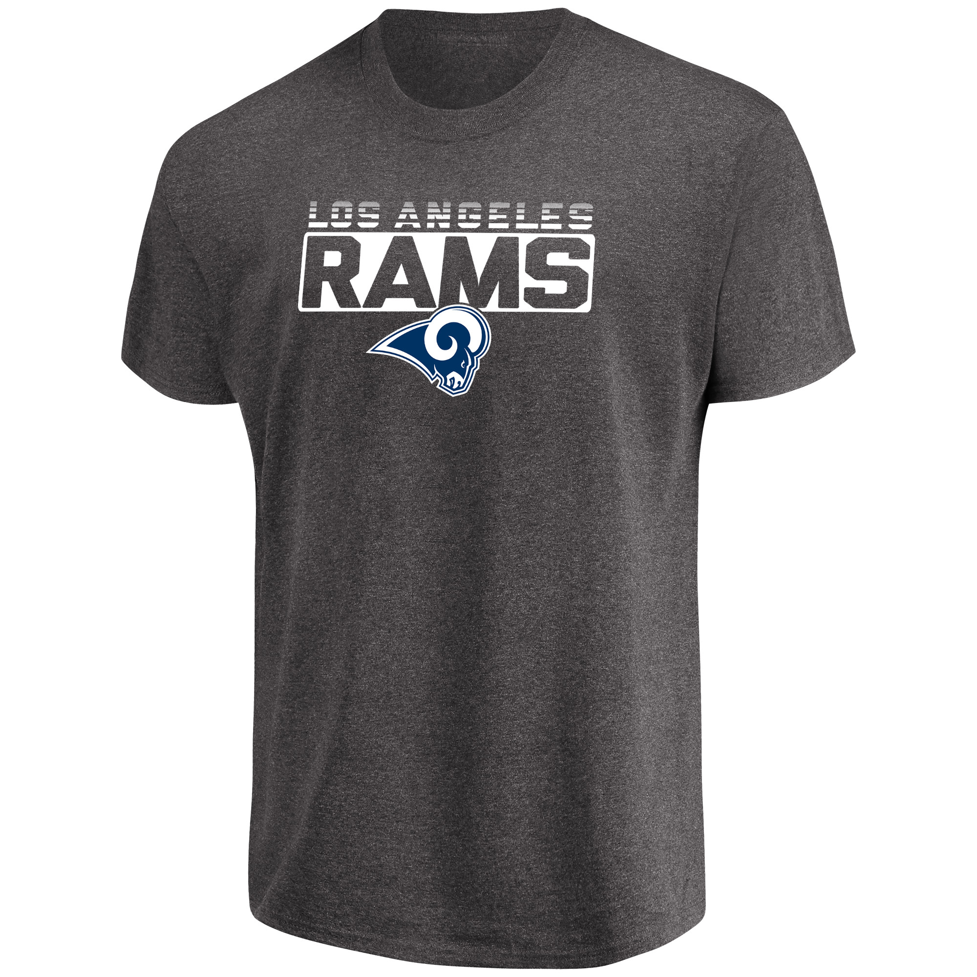 Men's Majestic Heathered Charcoal Los Angeles Rams Come Into Play T-Shirt