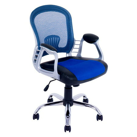 Office Chair In Black Leatherette And Blue Mesh