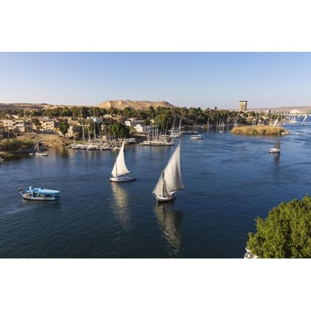 View of The River Nile and Nubian village on Elephantine Island, Aswan, Upper Egypt, Egypt, North A Print Wall Art By Jane Sweeney