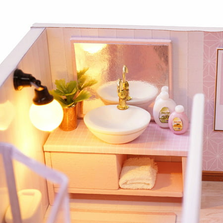 Diy Miniature Loft Dollhouse Kit Realistic Mini 3d Pink Wooden House Room Toy With Furniture Led Lights Christmas Children S Day Birthday Gift Walmart Canada