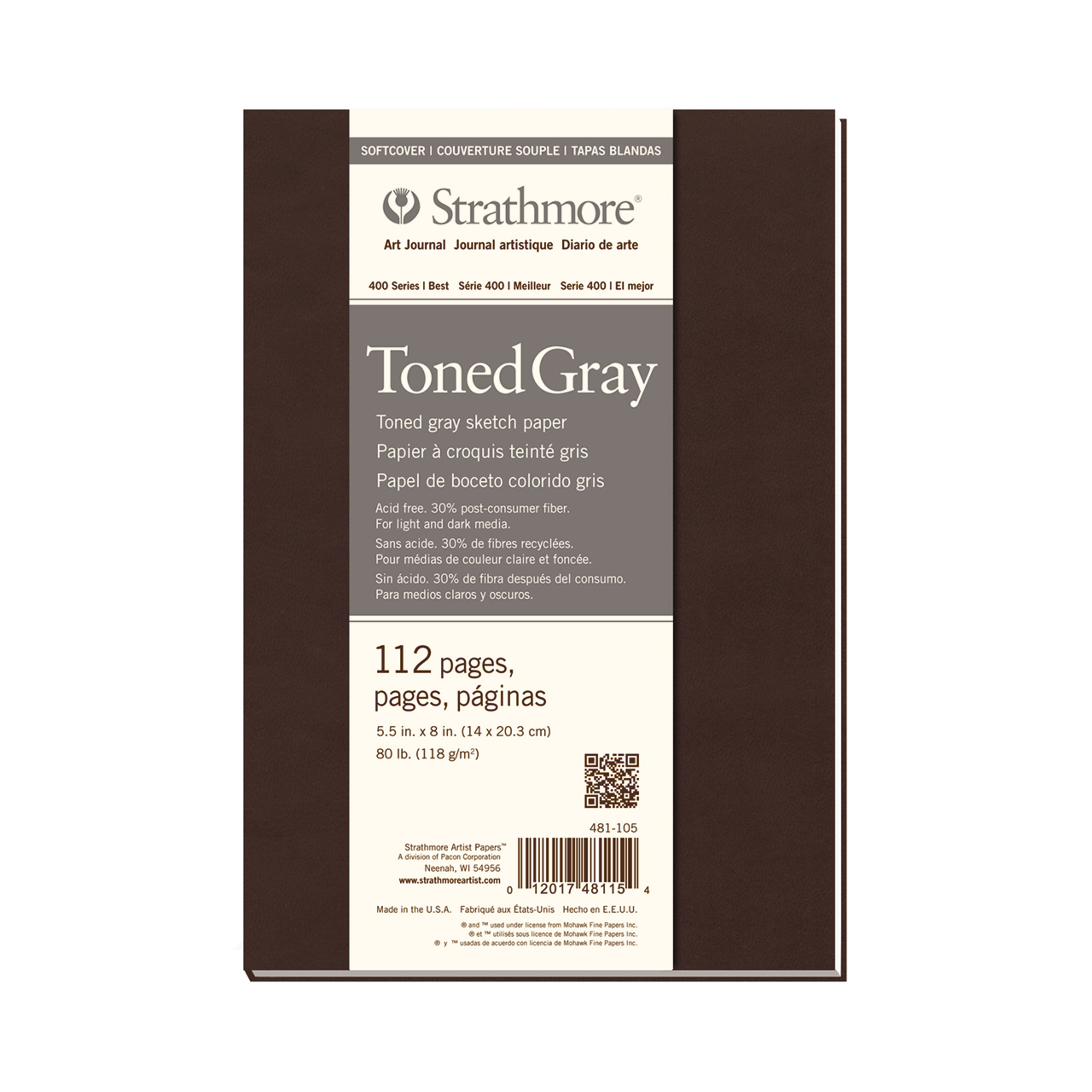 "Strathmore Soft Cover Toned Art Journal, 400 Series, 112 pages, 5.5"" x 8"", Gray"