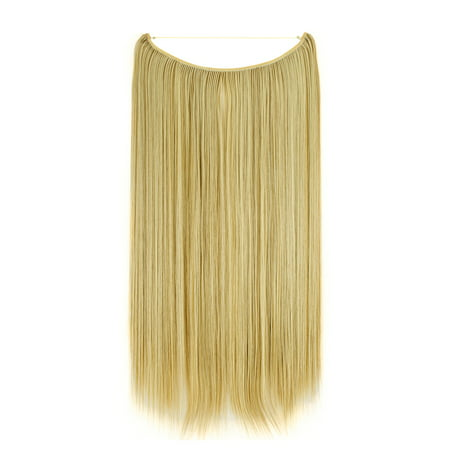 FLORATA Invisible Wire Fish Line NO Clip in Hair Extensions 22 Inch Straight Synthetic Hairpieces Long