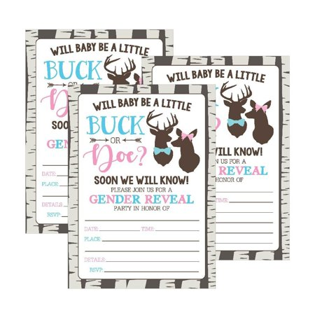 25 Buck or Doe Deer Gender Reveal Baby Shower Party Invitation Cards, Pink Blue He She Personalized For Gender Neutral Unisex Invite Guess If It's a Boy or Girl Fill In The Blank Printable Invite Pack - Halloween Party Invitations Printable