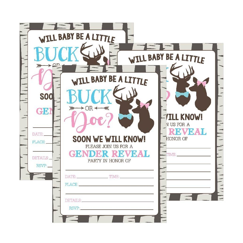25 Buck or Doe Deer Gender Reveal Baby Shower Party Invitation Cards, Pink Blue He She Personalized For Gender Neutral Unisex Invite Guess If It's a Boy or Girl Fill In The Blank Printable Invite Pack