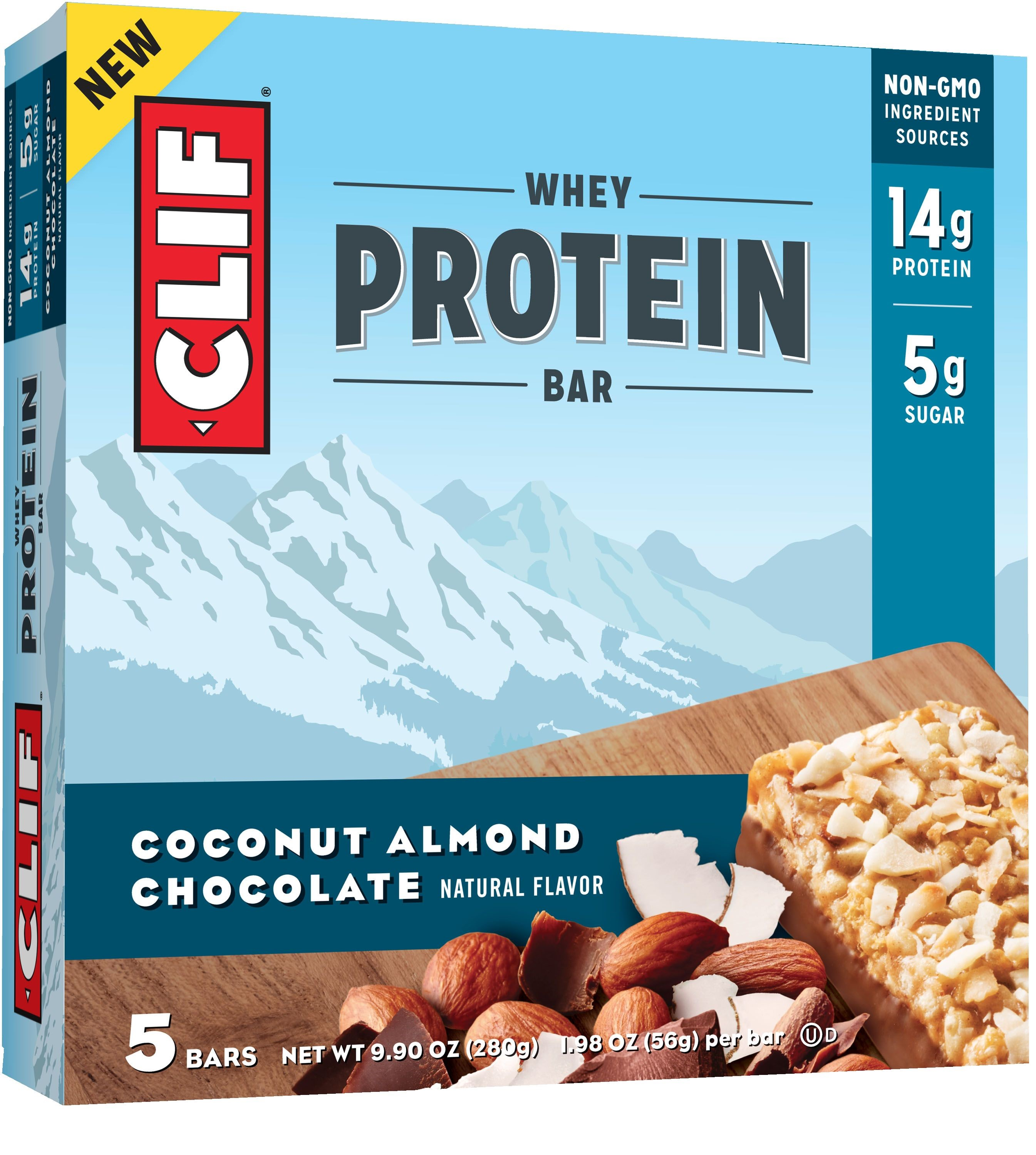 Clif? Coconut Almond Chocolate Whey Protein Bars 5-1.98 oz. Bars