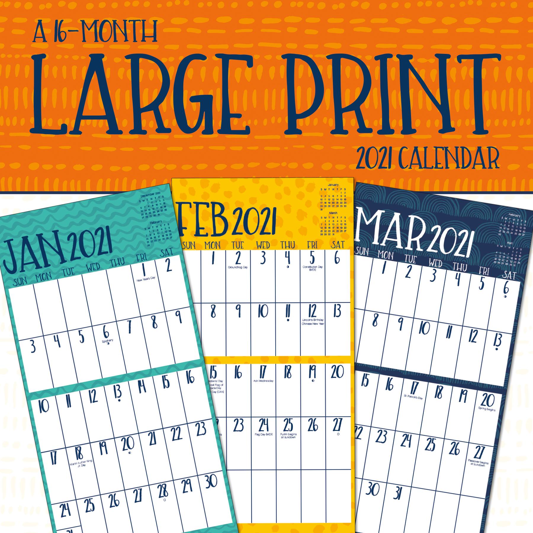 2021 Large Print Mini Calendar - Walmart.com - Walmart.com