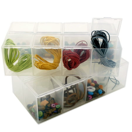 Set of 2 Storage Containers - Organize Storage Beads Crafts Small Items 8 Compartments Impact Resistant](Craft Storage Bins)