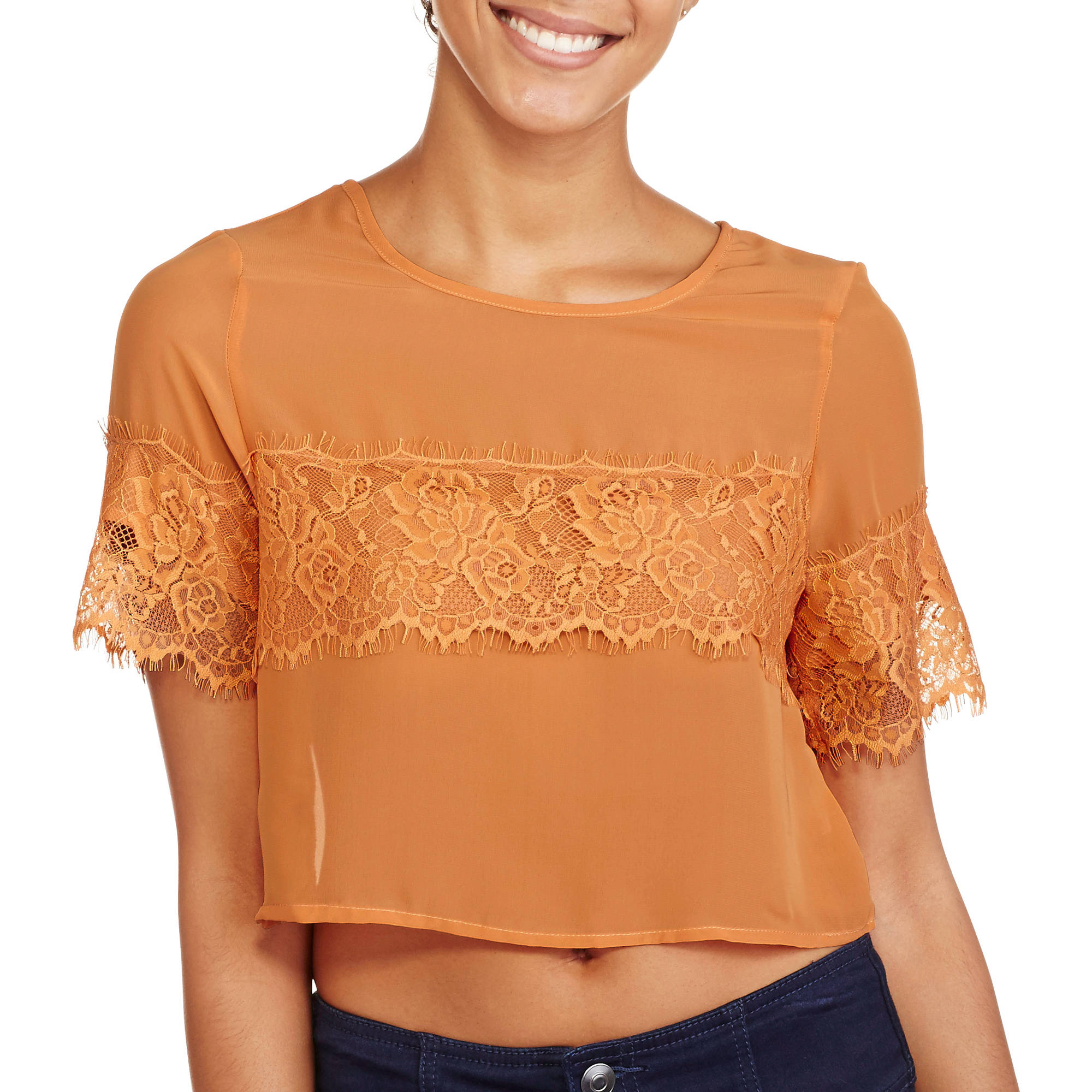Ali & Kris Juniors' Short Sleeve Scoopneck Chiffon Crop Top
