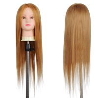 "26"" Long Hair Hairdressing Synthetic Cosmetology Mannequin Manikin Head w/ Human Hair Clamp Holder For Training"