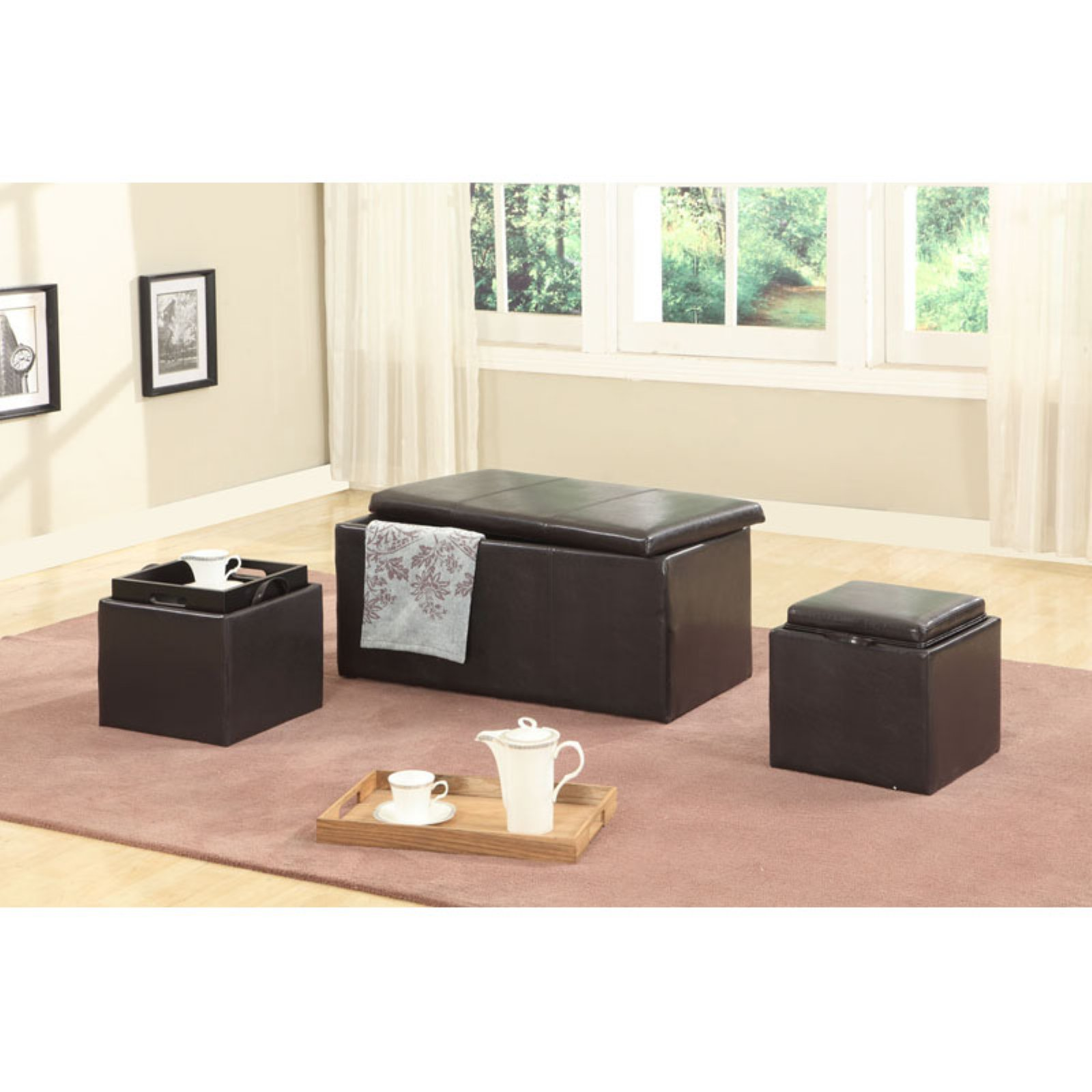 Roundhill Trina Triple Storage Ottomans with Wooden Trays, Brown