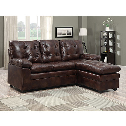 Buchannan Faux Leather Sectional Sofa With Reversible Chaise Chestnut
