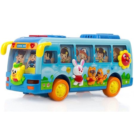 Toysery Bus Toy for Kids - Bump and Go Action Moves Around on Its Own - Children's Small School Bus Toy with Flashing Lights and Realistic Sound Effects