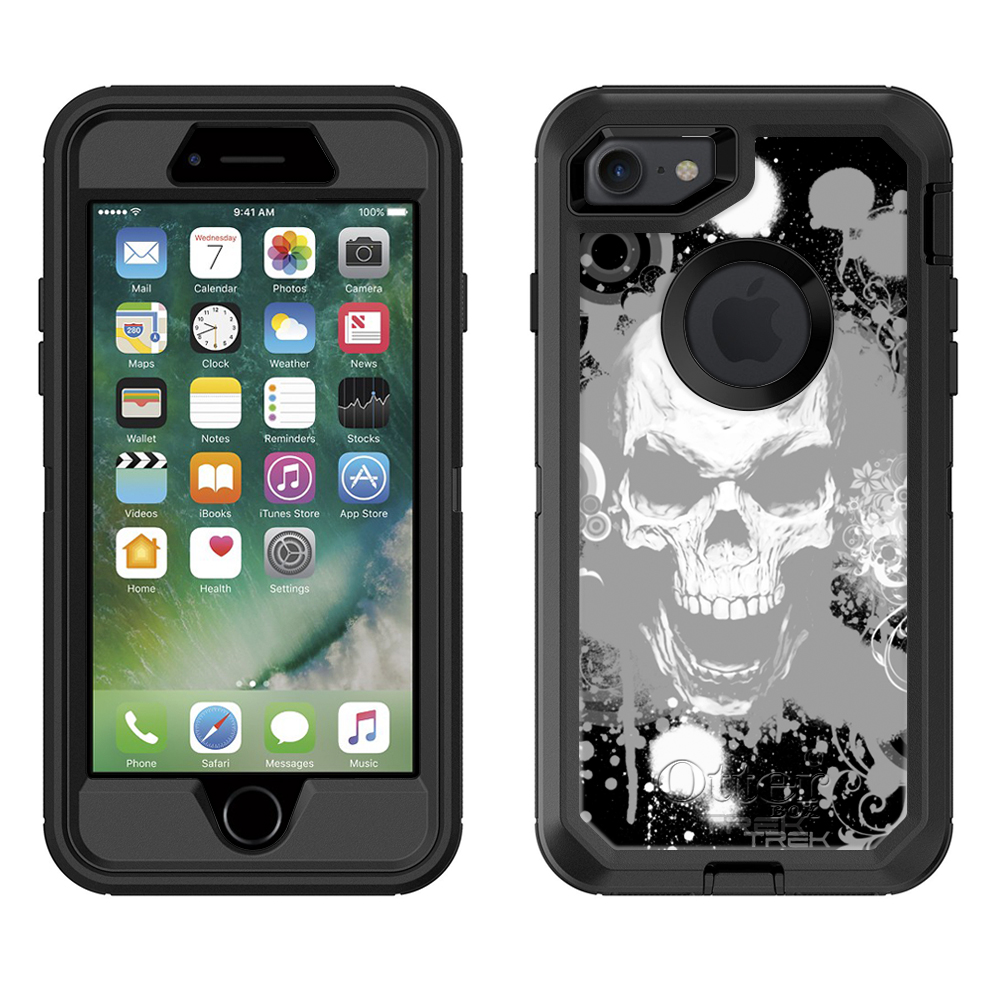 SKIN DECAL FOR Otterbox Defender Apple iPhone 7 Case - White Skull on Black DECAL, NOT A CASE