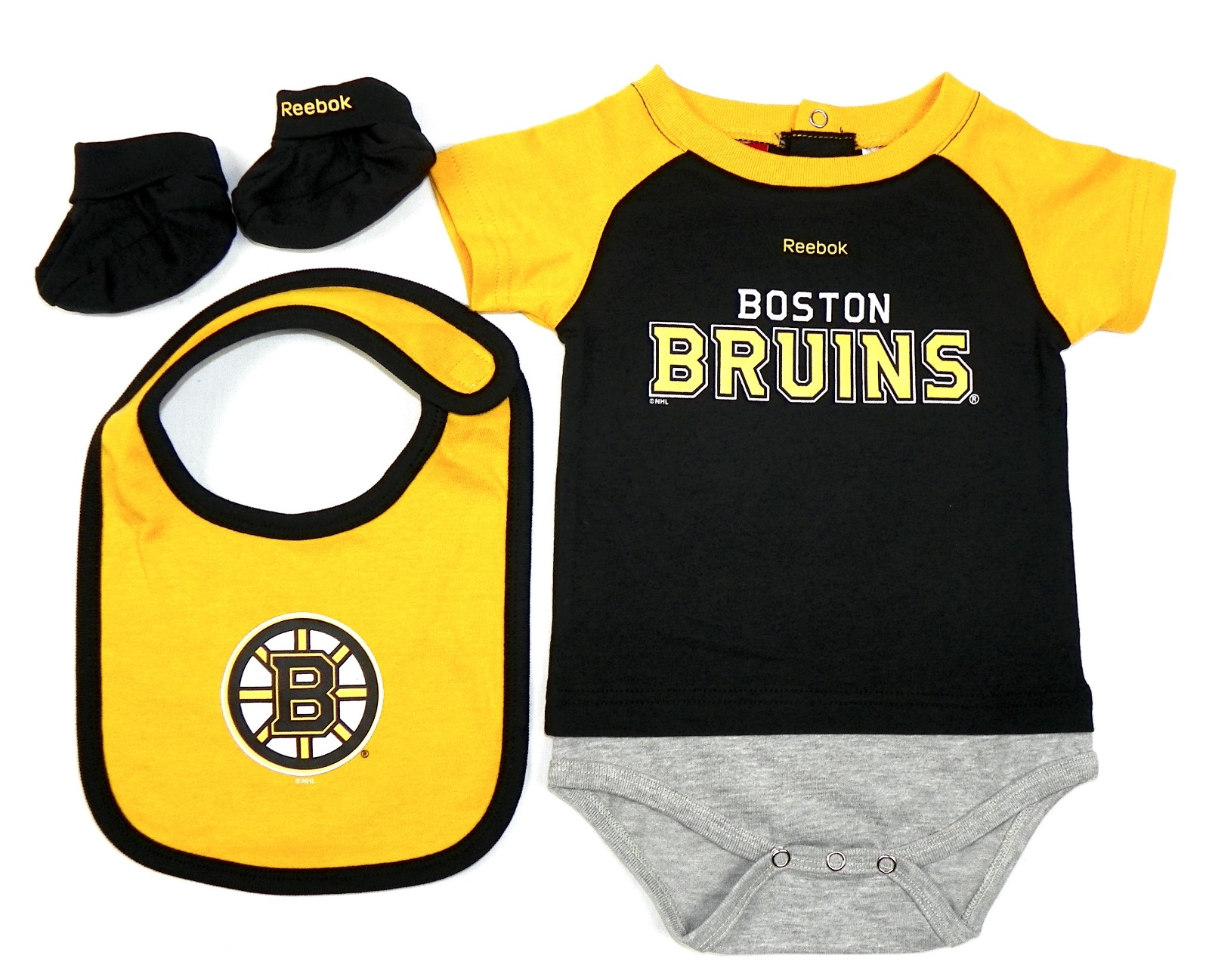 Boston Bruins NHL Infant Lil Jersey Creeper, Bib, Bootie Set by