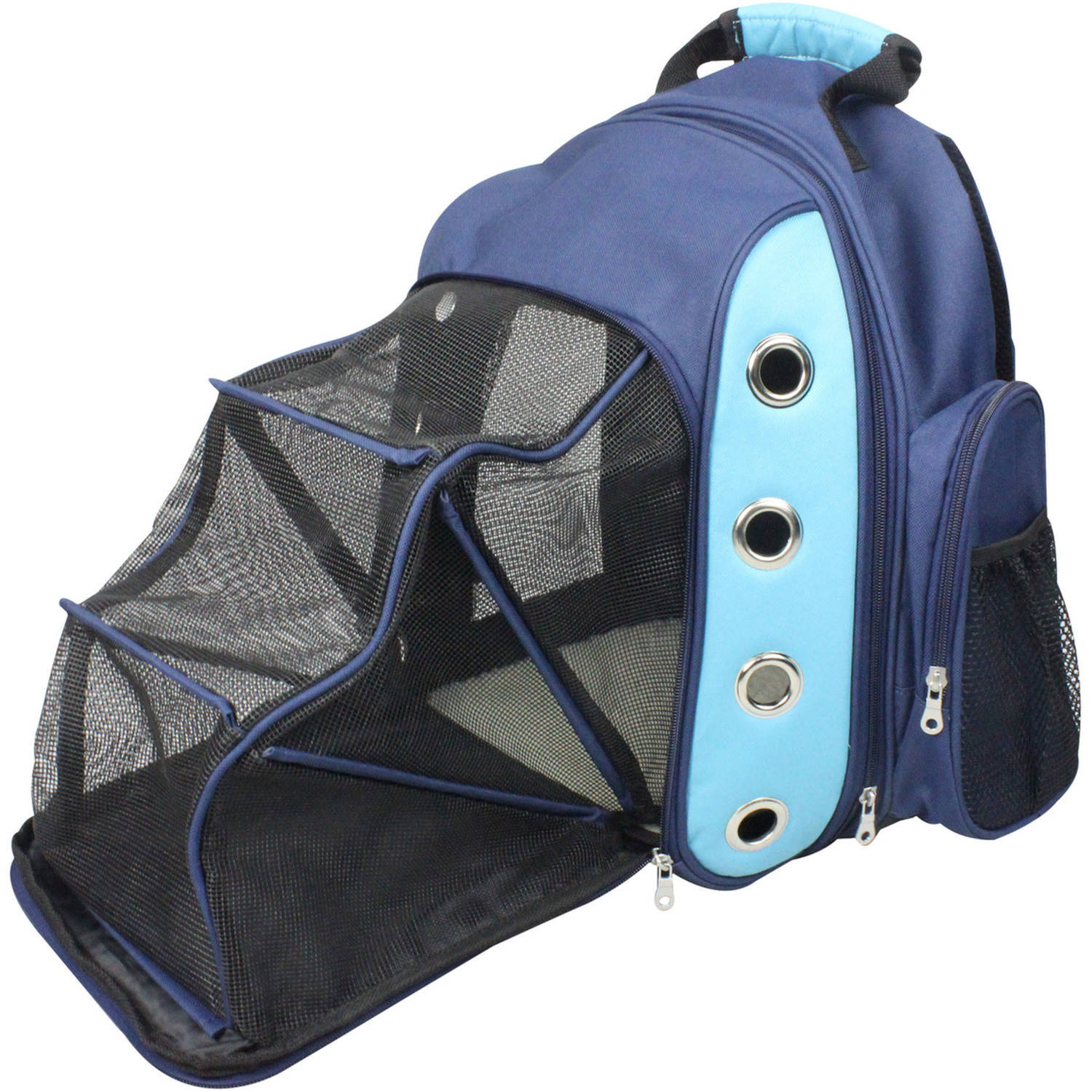 Iconic Pet FurryGo Luxury Backpack Pet Carrier with Lounge, Navy Blue
