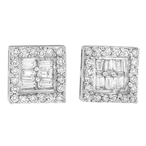 Original Classics 14k White Gold 1ct TDW Round and Baguette Diamond Stud Earrings(H-I,SI1-SI2)
