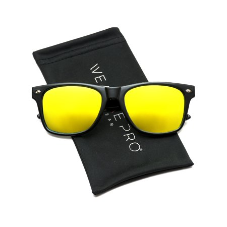 WearMe Pro - Polarized Flat Mirrored Reflective Color Lens Large Horn Rimmed (Flat Lens Mirrored Sunglasses)